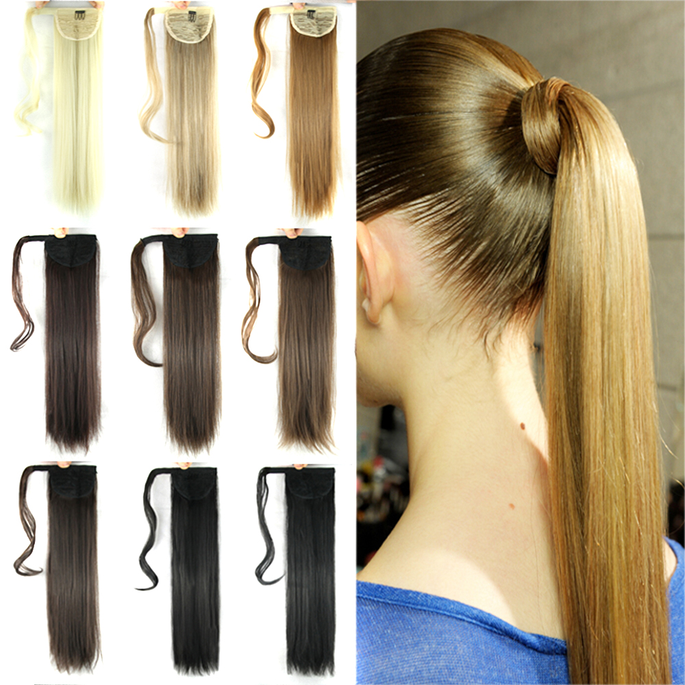 Soowee 22inch Long Straight Synthetic Hair Ponytail Pony Tail False Hair Extensions Hairpiece Fairy Tail Hairpins
