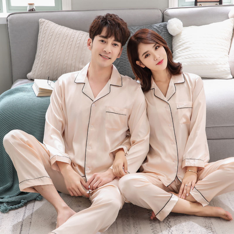 Couple Pajama Set Silk Satin Pijamas Long Sleeve Sleepwear His-and-her Home Suit Pyjama For Lover Man Woman Lovers' Clothes