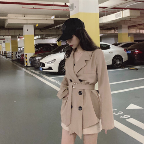 2019 fall women lace up blazers and jackets blazer women  Long Sleeve office lady casual belt Suit Karachi