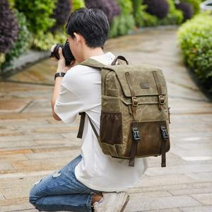 Image 5 - Batik Canvas Photography Camera Backpack Tripod Bag Padded Water resistant Lens Case for Nikon/Canon/Sony SLR Camera Accessories
