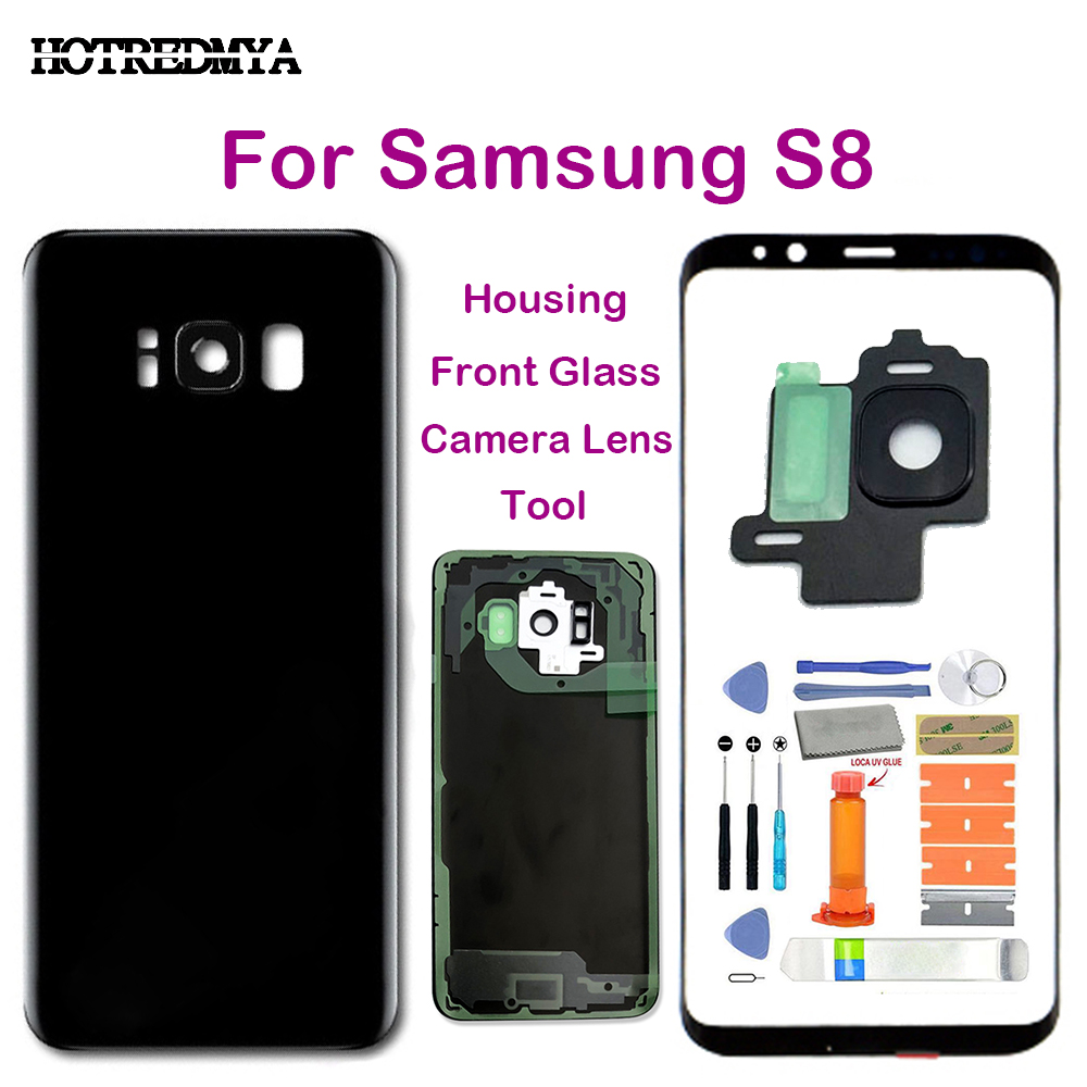 For Samsung Galaxy S8 G950 <font><b>G950F</b></font> <font><b>SM</b></font>-<font><b>G950F</b></font> G950FD Front Touch Glass+Rear Back Battery Door Housing Cover+Outer Camera Lens image