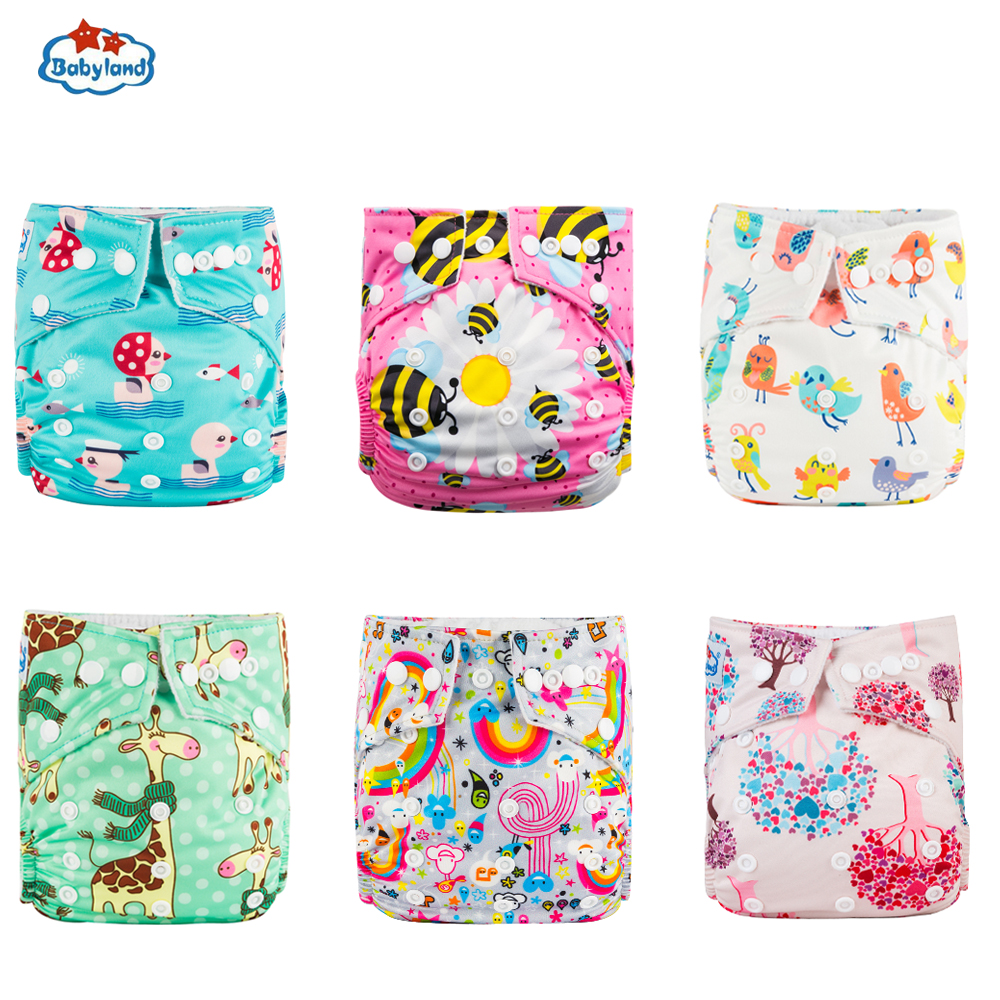 Panales Ecologic My Choice Babyland Reusable Diapers 6pcs/Set ECO-Friendly Cloth Nappy Cover Washable Pocket Diapers
