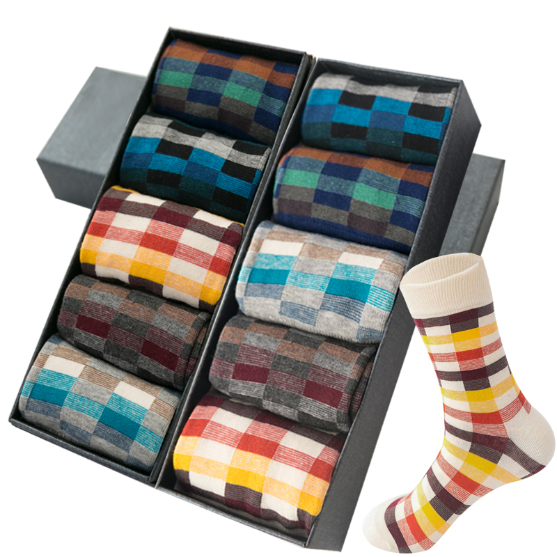 10 Pairs/lot Colorful Cotton Men Dress Socks Business Diamond Sock Male High Quality Grid Leisure Compression Socks Mens Gifts