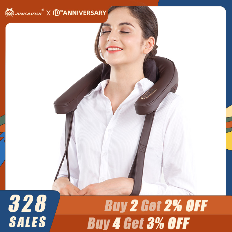 Jinkairui Electric Heating Neck Massager Shiatsu Rolling Infrared Kneading For Back And Shoulder Massage Body Massageador Relax