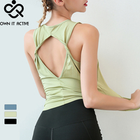 Women Sleeveless Yoga Tank Tops Quick dry Exercise Workout Sexy Backless Sports T Shirts Fitness Running Sport Vest Yoga Top Gym