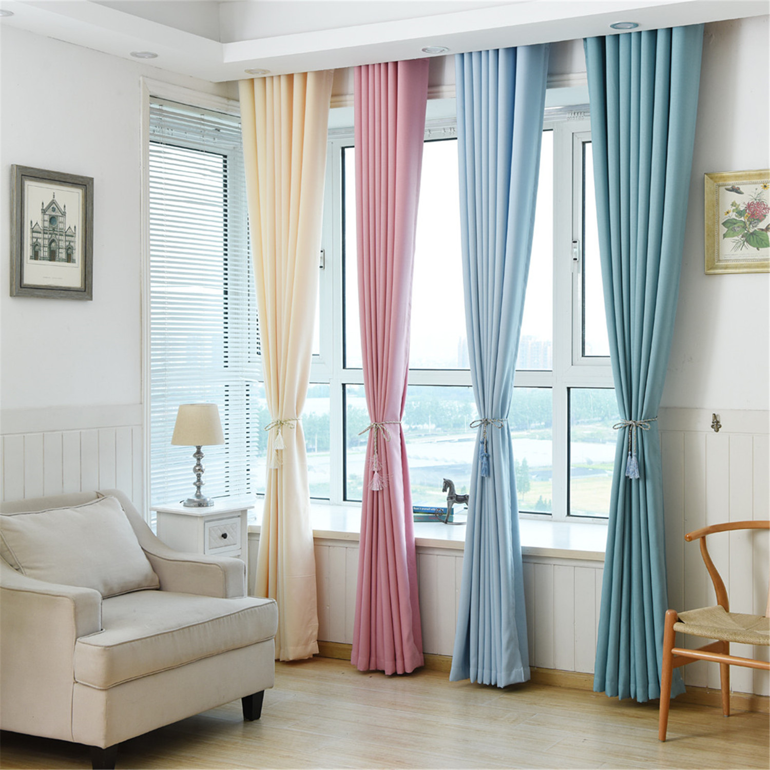 Solid Color Blackout Window Curtains For Living Room Bedroom Custom Made 4 Color Soft Hand Feeling Window Treatments