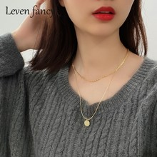 Luxury 925 Sterling Silver Jewelry Women Double Layer Chain Gold Necklace Wholesale Jewelry Coin Pendant bohemian Necklace(China)