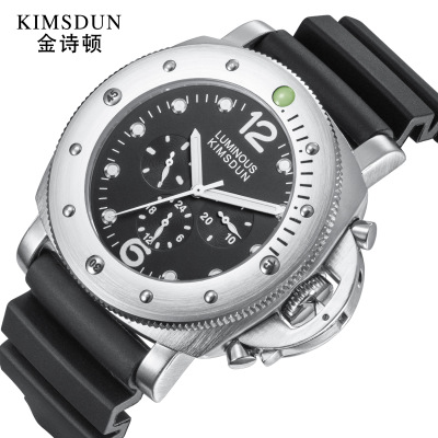 KIMSDUN Multifunction Three Eye Luxury Mechanical Watch Men Automatic Business Waterproof Wrist Watch for Men Relogio Masculino