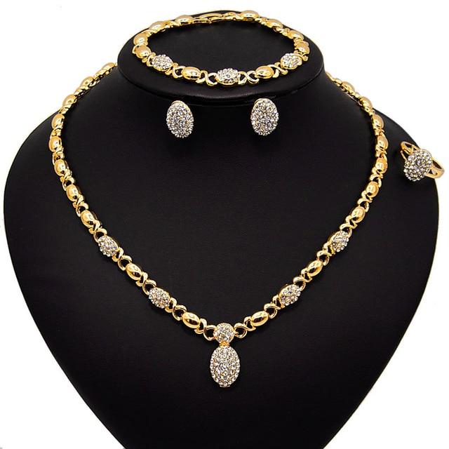 Conjunto de joyería en forma de O de cristal para boda, collar, pendientes, pulsera, anillo, Color dorado, de alta calidad, novedad, venta al por mayor 1