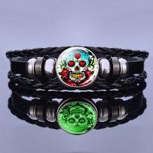 Day of the dead luminous skull braided leather bracelet vintage