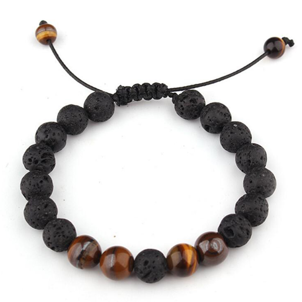 Couples Distance Natural Stone Tiger Eye Beads Charm Bracelet for Women Man Jewelry Making Lava DIY Bracelet Adjustable Handmade