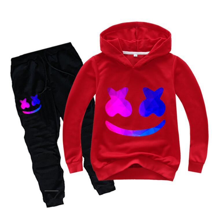 Meninos Sportswear Conjunto Casual Wear DJ Roupas de Algodão das crianças Sorridentes Esportes Definir Meninas Adolescente Manga Longa Camisola Do Hoodie