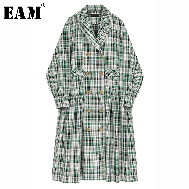 [EAM] Women Green Plaid Split Big Size Long Trench New Lapel Long Sleeve Loose Fit Windbreaker Fashion Tide Spring 2020 1R563