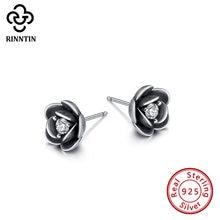 Rinntin 100% 925 пробы серебряные серьги гвоздики в форме цветущей