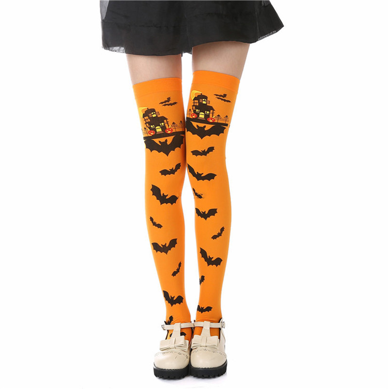 5 Colors Halloween Womens Long  Stocking Girls Warm Stockings Fashion Cotton Thigh High Over Knee Autumn Casual Stockings 1pair
