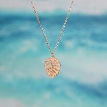 Collier étanche en acier inoxydable pour femmes, pendentif Monstera Philodendron, feuille de frange, haute qualité, Style plage d'été