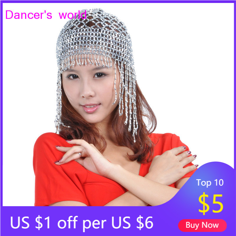 Wholesale Belly Dance Clothes Women Belly Dance Beads Hat Girls Belly Dance Tassel Hat  Belly Dance Head Accessories