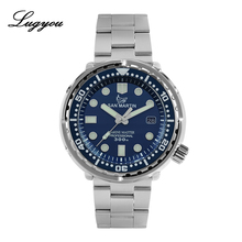 Lugyou San Martin TUNA Automatic Mens Diving Watch Stainless Steel 30Bar NH35 Black Dial Date Display Metal Bracelet Super Glow
