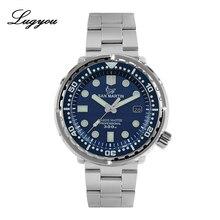Lugyou san martin atum relógio de mergulho masculino automático aço inoxidável 30bar nh35 mostrador preto data exibição metal pulseira super brilho