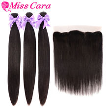 Mèches brésiliennes Remy naturelles lisses-Miss Cara | 13*4, perruque Lace Frontal, avec Closure, lots de 4(China)