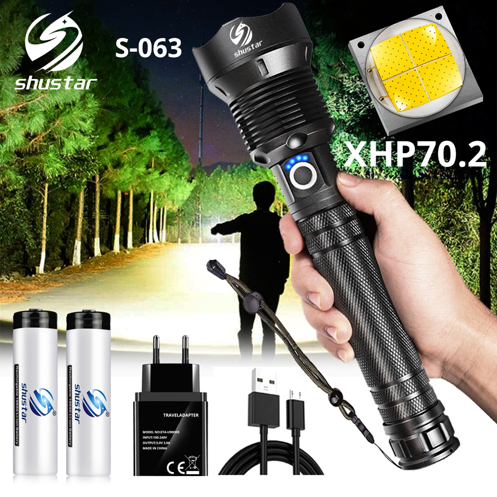 Potente linterna LED con cuenta de lámpara XHP 70,2 con zoom, 3 modos de iluminación, linterna LED, soporte para lámpara de caza de carga Mircro