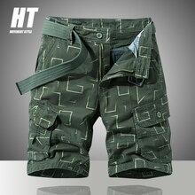 Мужские шорты-карго в стиле милитари, темно-зеленые повседневные шорты с принтом, свободные штаны для бега, лето 2021