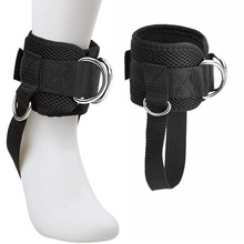 Adjustable 4 D-Ring Ankle Straps Gym with Foot Strap Cable Machine Fitness Thigh Glute Exercises Padded Ankle Cuffs Accessories