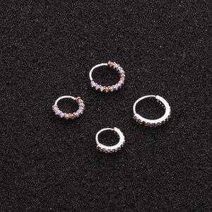 1 шт., серьги-кольца из нержавеющей стали 6/8/10 мм, с кубическим цирконием, для ушей, Для Пирсинга Ушей, кольцо на Козелок