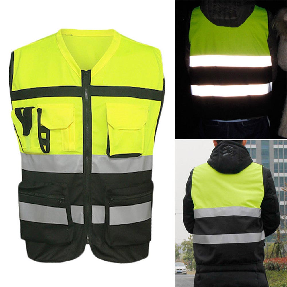 Safety Vest Reflective Driving Jacket Night Security Waistcoat With Pockets OUJ99