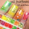 12 сетки/коробка 3D фрукты смешанные крошечные ломтик стикеры Полимерная глина для самостоятельного декора ногтей дизайн ногтей украшение