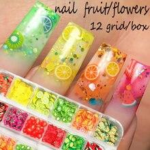 12 grades/caixa 3d frutas misturadas minúsculas fatia adesivo argila de polímero diy design de unhas decoração da arte do prego