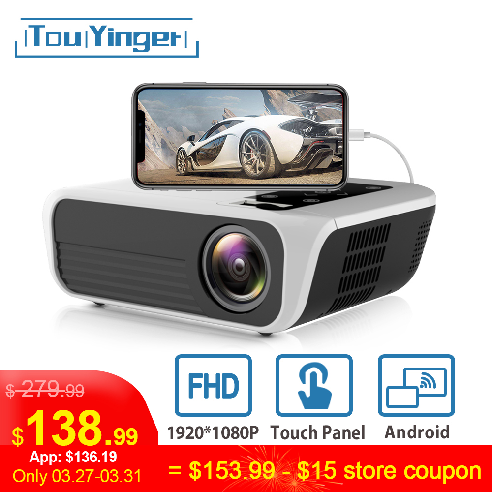 Touyinger L7 LED Proiettore 1080P Nativo full HD mini marche USB beamer 4500 Lumens Android 7.1 wifi Bluetooth Casa cinema HDMI title=