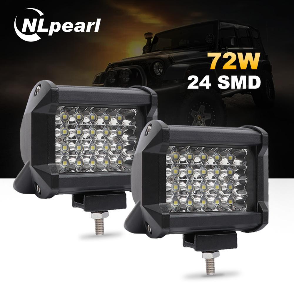 Nlpearl 4 ''7'' 72W 60W samochód lekki montaż 36W led światła przeciwmgielne dla samochodów ciężarowych listwa świetlna led robocza dla Off Road SUV łódź 12V 24V