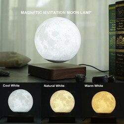 Креативный 3d-светильник с магнитной левитацией и луной, ночник 14 см, вращающаяся Светодиодная лампа с плавающей луной, домашнее украшение, п...