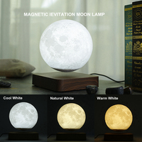 Creative 3D Magnetic Levitation Moon Lamp Night Light 14cm Rotating Led Moon Floating Lamp Home Decoration Holiday Gifts