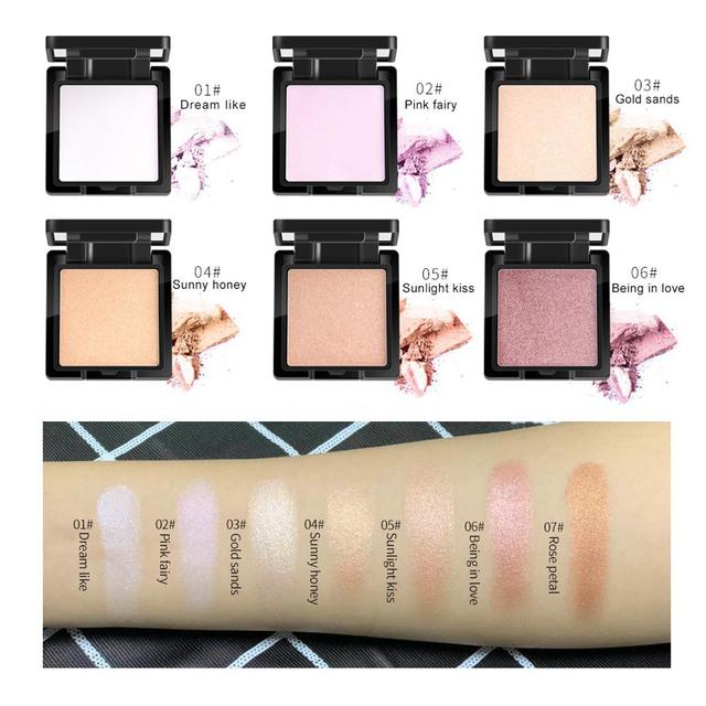 QIBEST Highlighter Bronzer Palette Face Makeup Contour Glow Long Lasting Shimmer Illuminator Highlighter Powder Shining Cosmetic 3