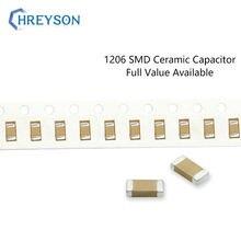 100 Uds 1206 SMD condensador Sets electrónicos 200pF-47uF 5%, 10% de 3216 470pF 3.3nF 22uF 50V 104J 476K MLCC completa valor disponible DIY
