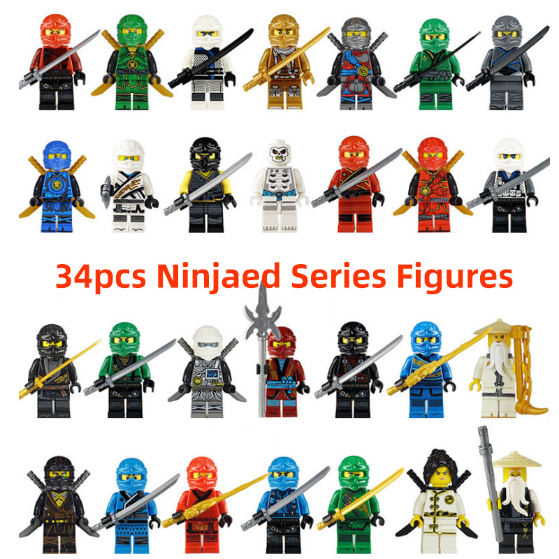 34pcs/lot Ninjagoed Building Blocks Kai Cole Jay Zane Lloyd Nya Mini Action Figures Compatible Legoingly Toys For Children Gift