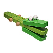 Orff world Crocodile Shape Wooden Castanet Baby Musical Instrument Cartoon Baby Musical Educational Instrument Toy Rattle Toy