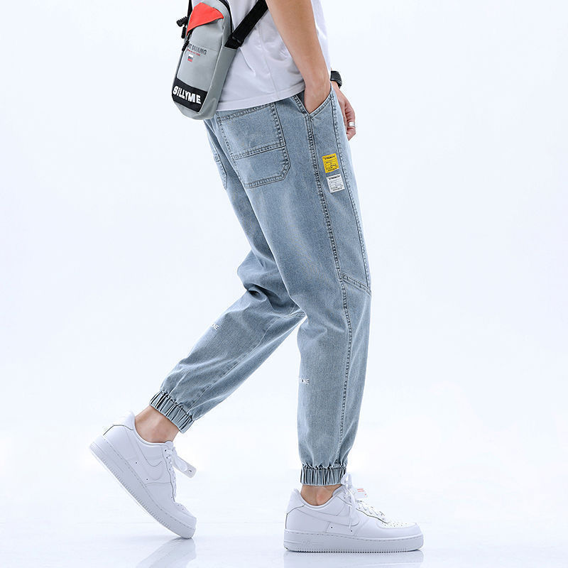 2020 hot style trendy men's jeans men's loose trendy brand harem cropped trousers all match Korean casual pants