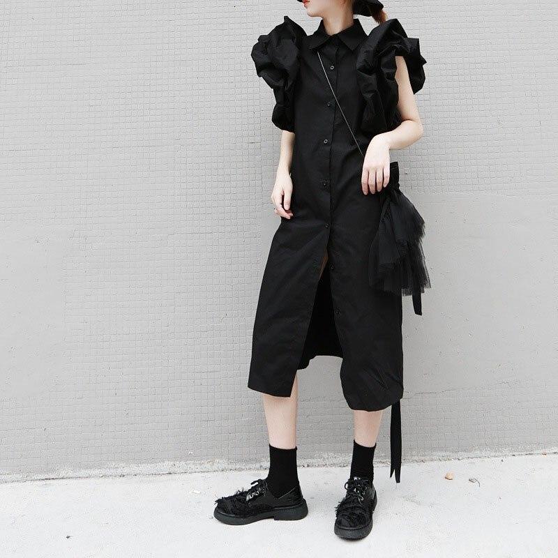 2019 automne femmes Streetwear chemise robe manches bouffantes tenue décontractée court cordon élégant robe de soirée femme vêtements