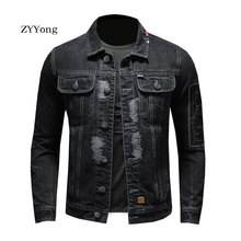 Retro European Style Bomber Pilot Tattered Patch Ripped Jean Jacket Men Denim Coat Motorcycle Casual Outwear Clothing Overcoat