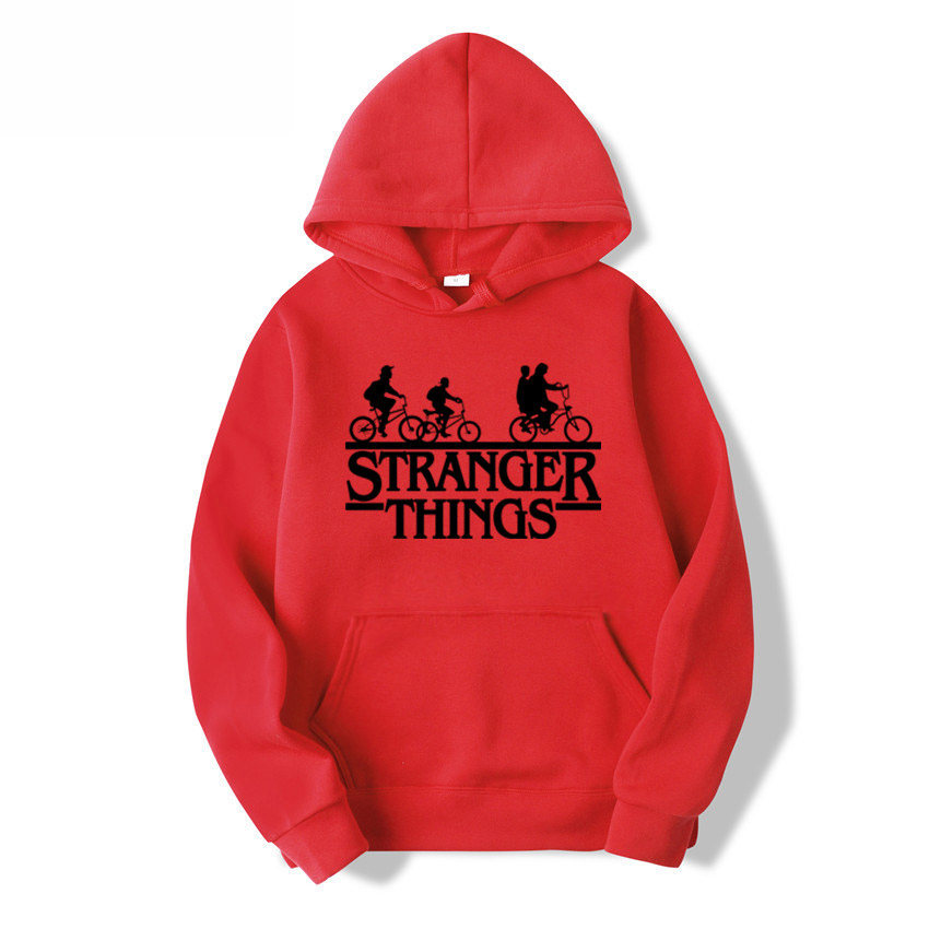 2020 Trendy Faces Stranger Things Hooded Women Hoodies And Sweatshirts Oversized For Autumn With Hip Hop Bikes For Black Sticker