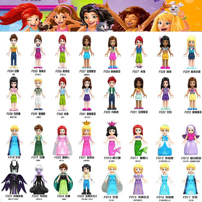 For Legoing Friends For Girl Princess Emma Stephanie Mia Olivia Andrea Beauty Figures Building Blocks Toys With Legoings Friends