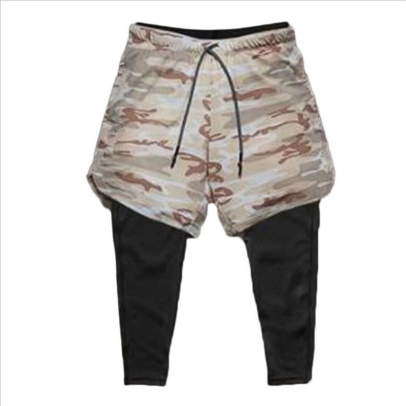 2020 New Sporting Pants Men Elastic Breathable Two Piece Running Training Pants Gyms Ankle-Length Pants Quick-drying Men Pants