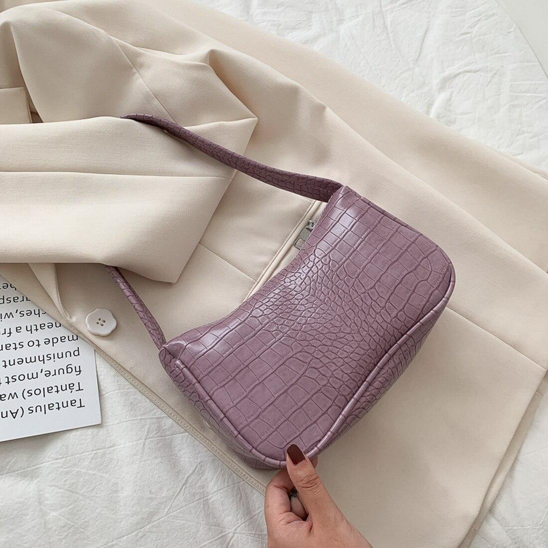 Soft Pu Leather Women Purple Underarm Bag Retro Solid Color Ladies Handbags Fashion Design Girls Small Shoulder Bags Mega Sale 8f99c Cicig