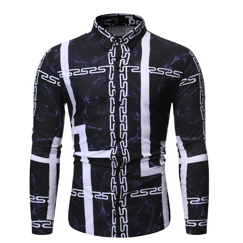 Autumn Clothing New Style Fashion Versatile Casual Fold-down Collar Men Long Sleeve Printed Shirt