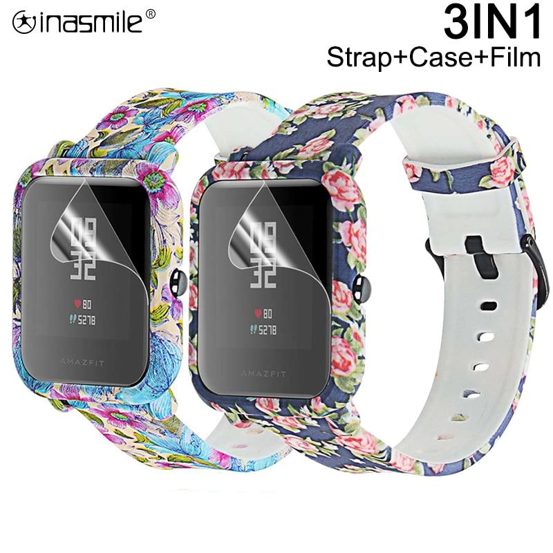 Pretty strap+ cover+Screen Protector For xiaomi correa amazfit bip strap pulseira ремешок case accessories