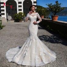 2020 새로운 도착 인어 웨딩 드레스 vestido 드 noiva sereia 긴 소매 appliques 레이스 꽃 트럼펫 웨딩 드레스