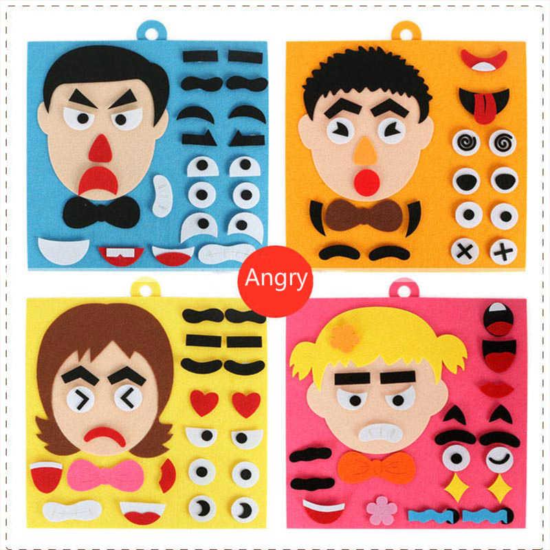 الأطفال تعلم مضحك مجموعة طفل DIY بها بنفسك اللعب العاطفة تغيير لغز لعب الطفل الإبداعية التعبير الوجه تحسين التدريب العملي على القدرة لعبة